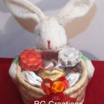 Code RGCP-0104,Bunny  basket filled with lips shape & flower shape lollipops for your Valentine