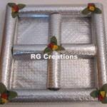"""Code RGDTR067,8""""x8"""" Designer four parts tray for dry fruits packing"""