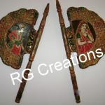 Code RGPANK025,Pair of decorative fans for home/office decor.