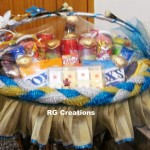 Code RGSP13,Shagun ceremony packing Blue & Golden color theme by RG Creations